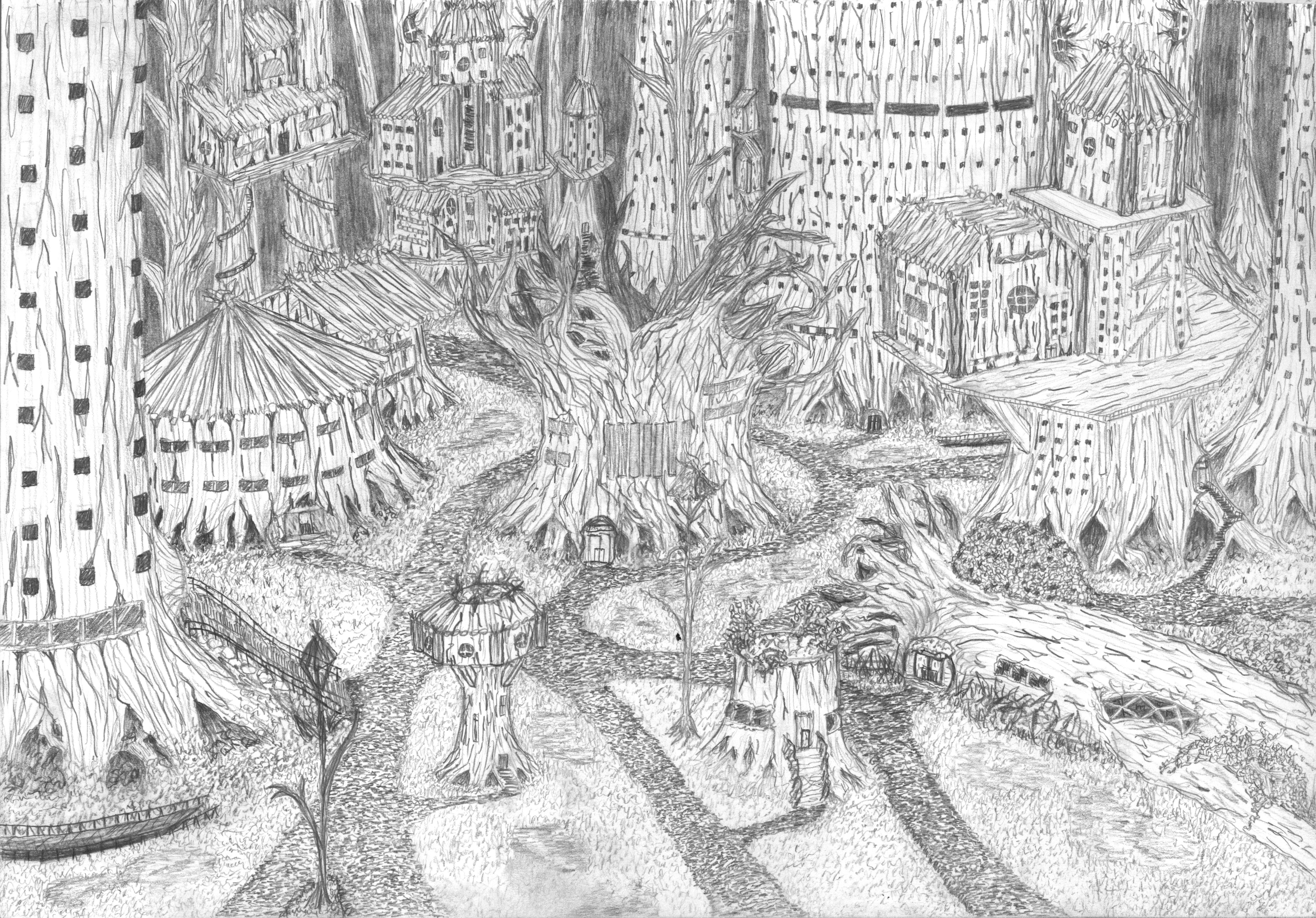 Hand drawn, fantasy, forest, village, scene, line art