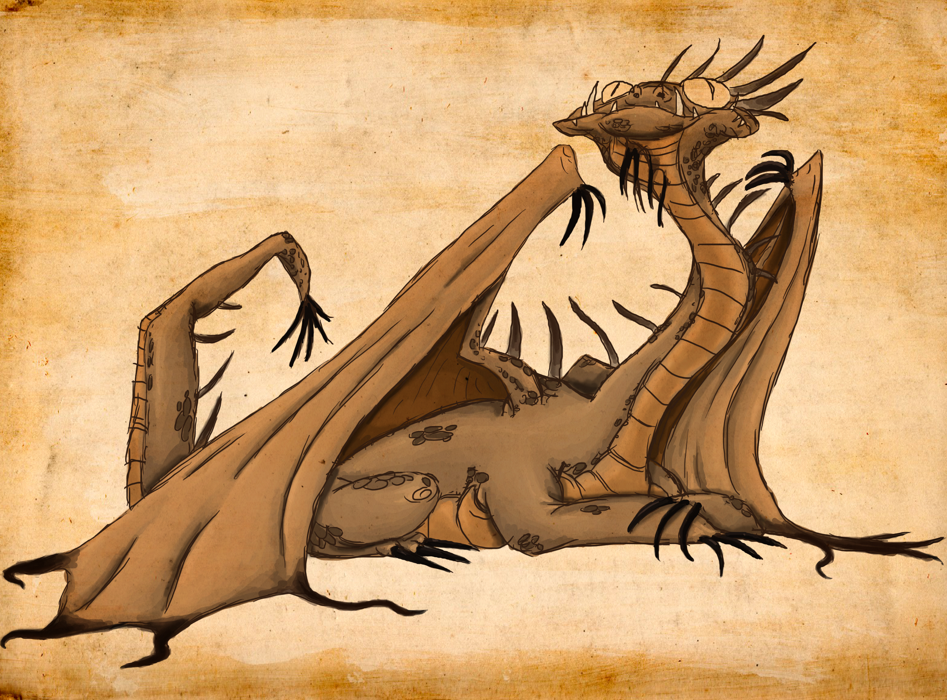 dragon, character, hand drawn, parchment, digital painting